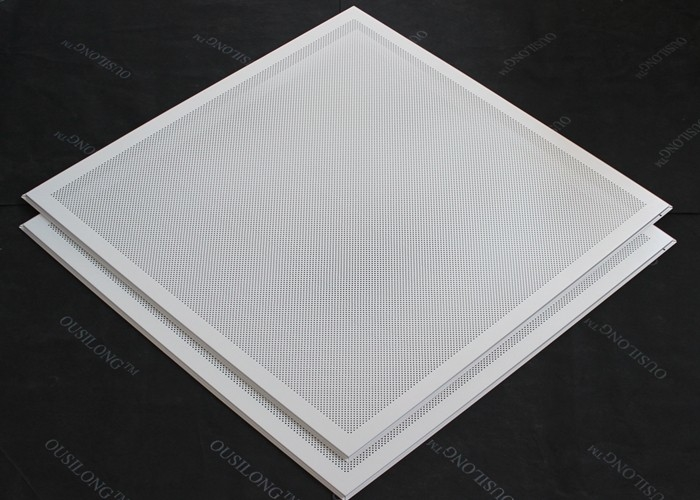 T 15 Matched 595x595mm Aluminum or Steel  Lay in Ceiling Tiles Perforated or Plain White