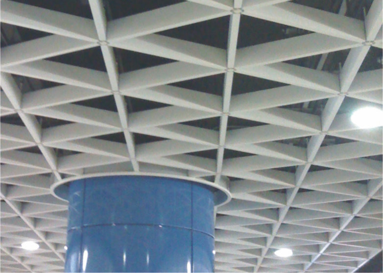 suspended decorative Metal Grid Ceiling aluminum Triangle For stadiums / subway