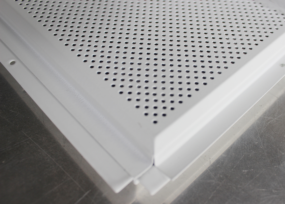 Metal Beveled Edge Perforated Ceiling Tiles Suspended Black Groove Carrier For Shopping Malls