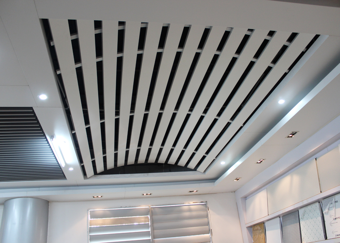 Domed Linear metal ceiling Aluminum Install with Curved Keel , Curved Ceiling for Station