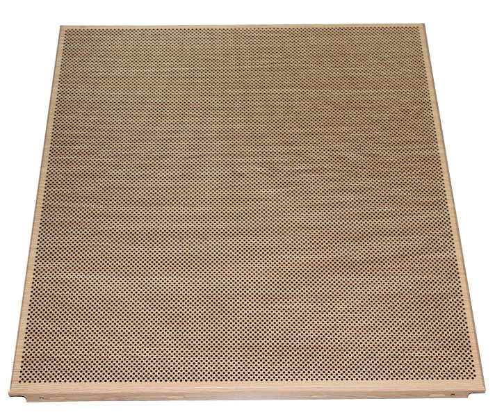 Fireproof Clip In Ceiling Wooden Color Dia 1.8 mm Perforation 600mm x 600 mm